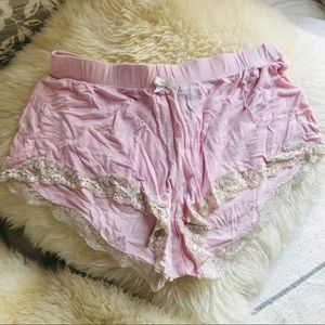 Cozy Pink Lace Trimmed Sleep Lounge Mini Shorts